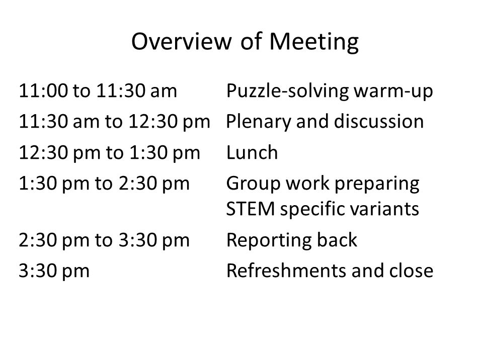 Overview of Meeting 11:00 to 11:30 am Puzzle-solving warm-up