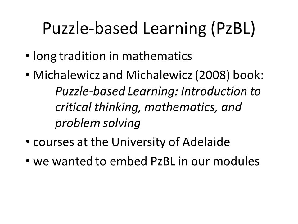 Puzzle-based Learning (PzBL)