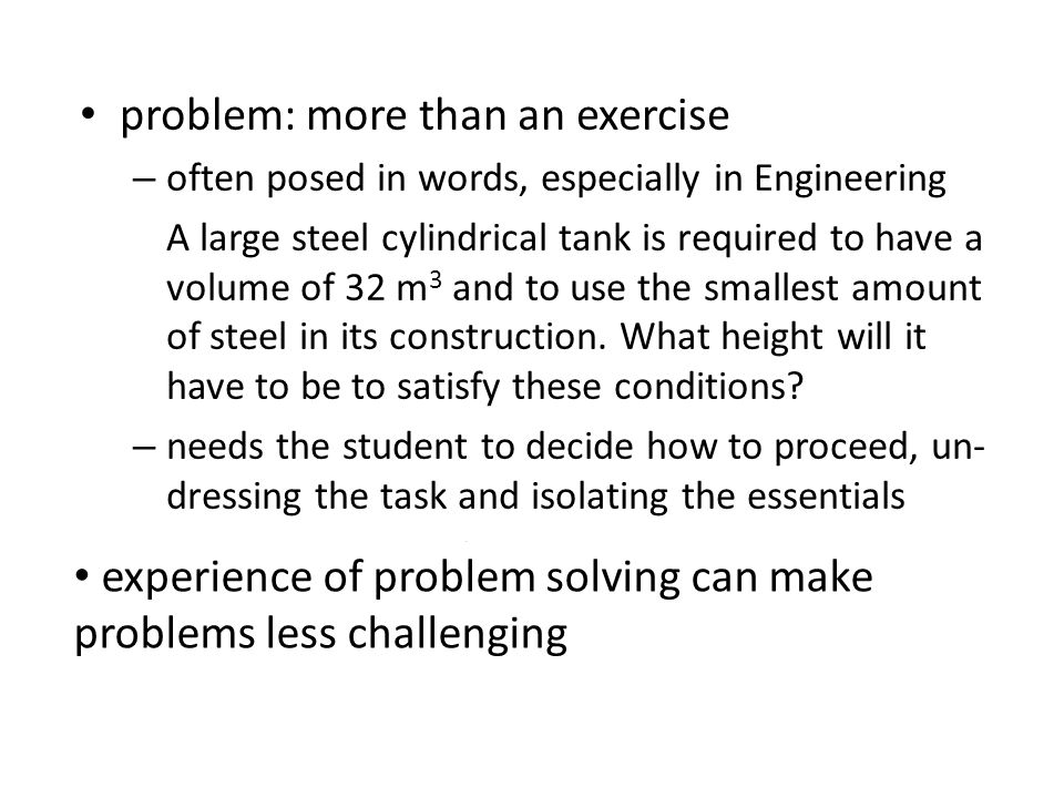 problem: more than an exercise
