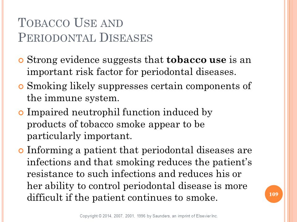 Tobacco Use and Periodontal Diseases