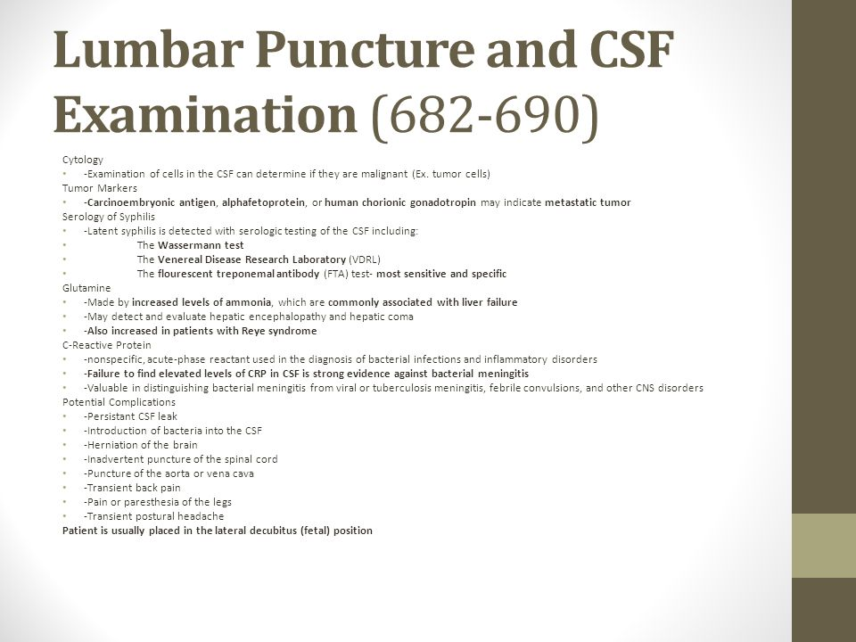 Lumbar Puncture and CSF Examination (682-690)