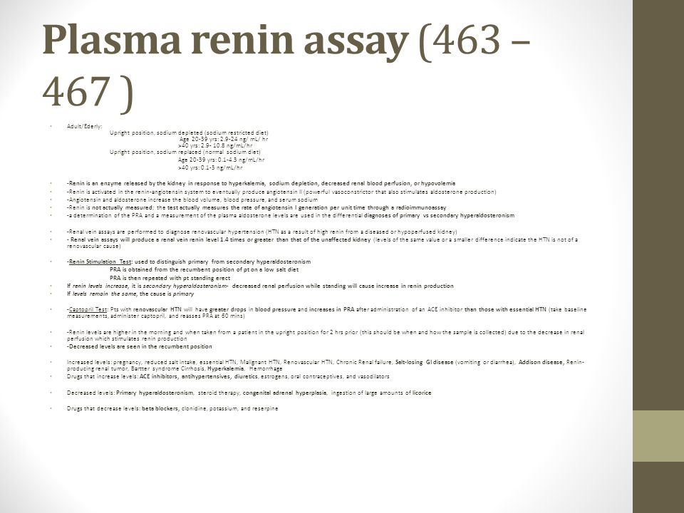Plasma renin assay (463 – 467 )