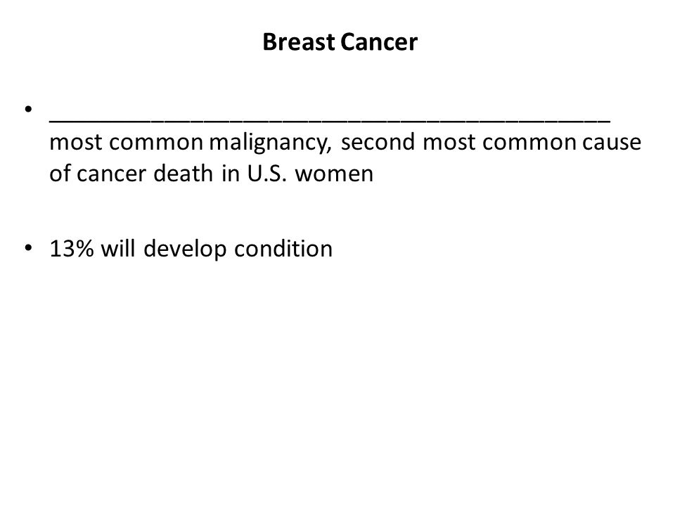 Breast Cancer ___________________________________________ most common malignancy, second most common cause of cancer death in U.S. women.