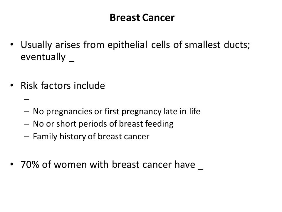 Breast Cancer Usually arises from epithelial cells of smallest ducts; eventually _. Risk factors include.