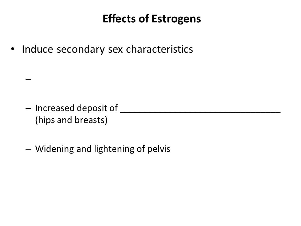 Effects of Estrogens Induce secondary sex characteristics