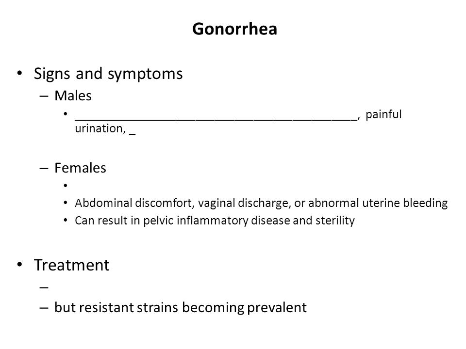 Gonorrhea Signs and symptoms Treatment Males Females