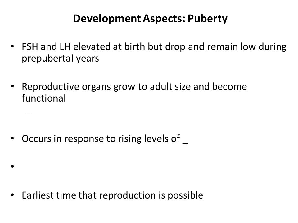 Development Aspects: Puberty