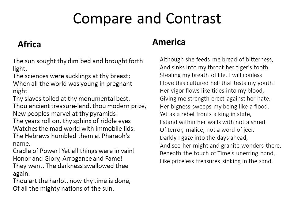 Compare and Contrast America Africa