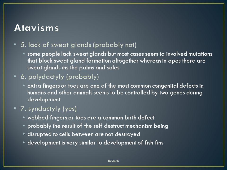 Atavisms 5. lack of sweat glands (probably not)