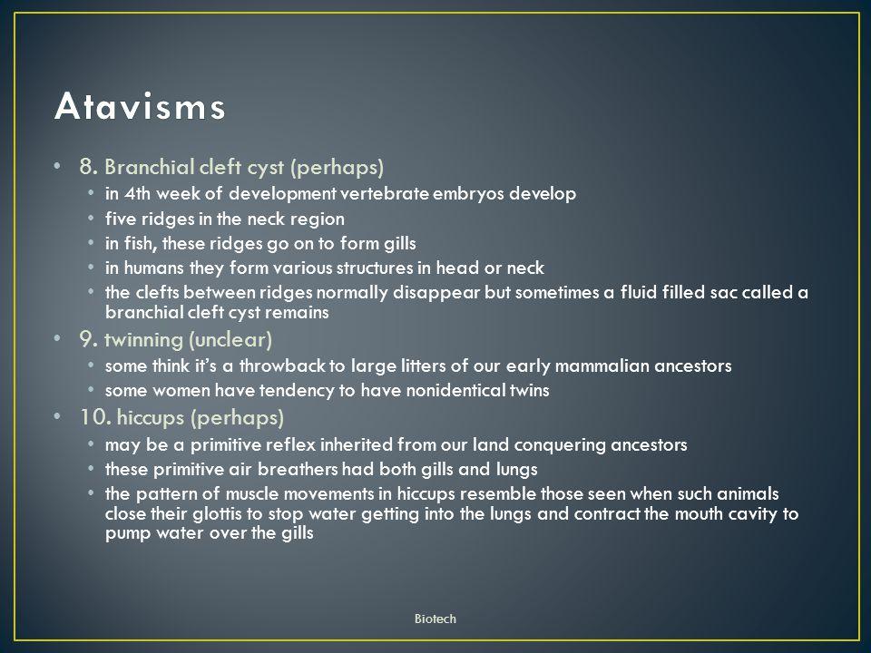 Atavisms 8. Branchial cleft cyst (perhaps) 9. twinning (unclear)