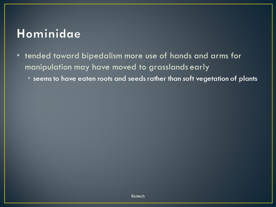 Hominidae tended toward bipedalism more use of hands and arms for manipulation may have moved to grasslands early.