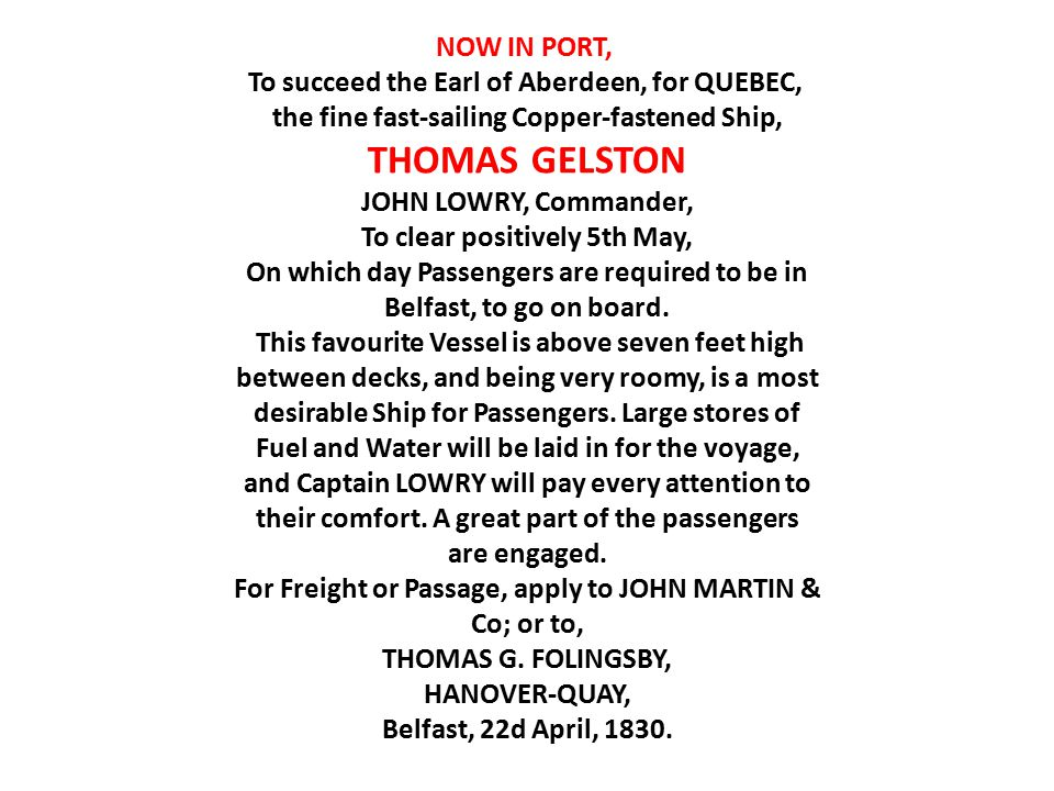 THOMAS GELSTON NOW IN PORT,