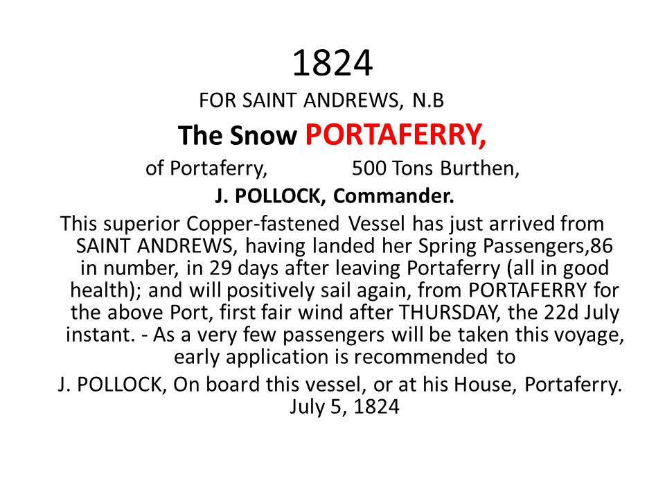of Portaferry, 500 Tons Burthen,