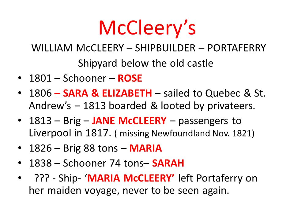 McCleery's Shipyard below the old castle 1801 – Schooner – ROSE