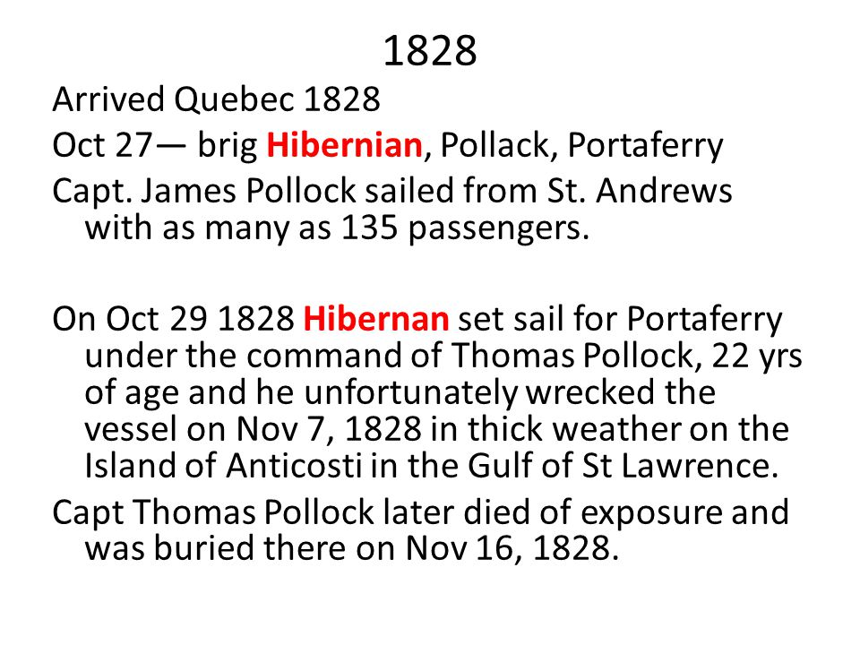 1828 Arrived Quebec 1828 Oct 27— brig Hibernian, Pollack, Portaferry
