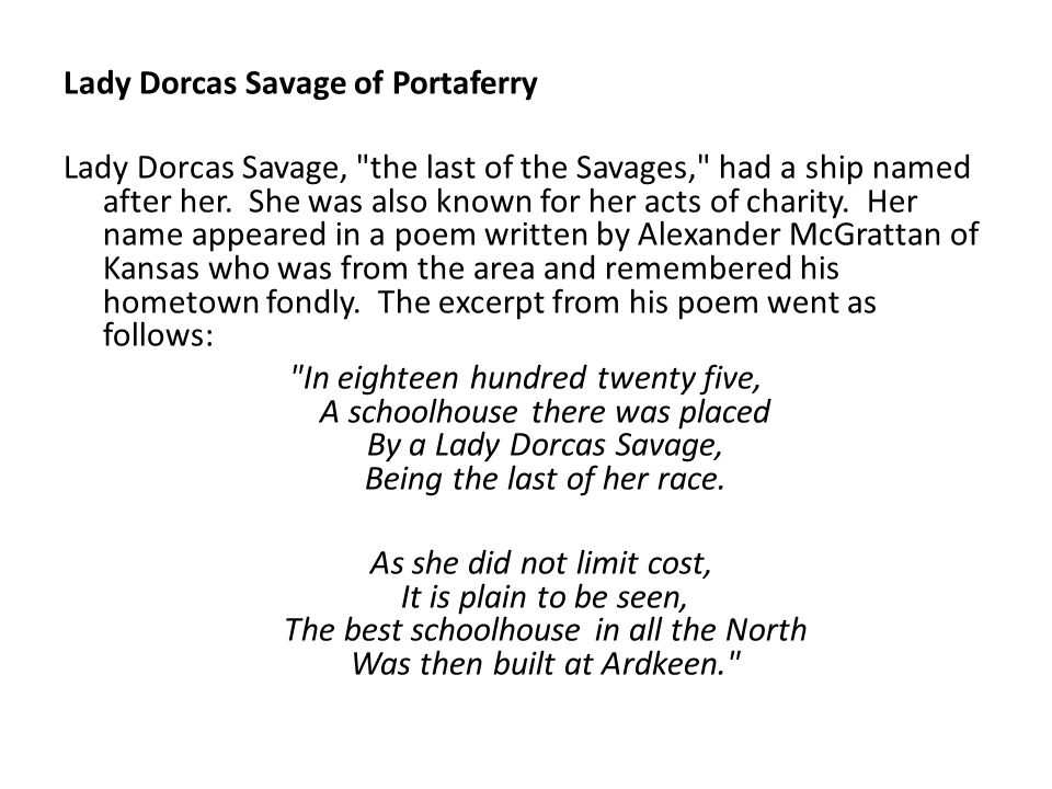 Lady Dorcas Savage of Portaferry