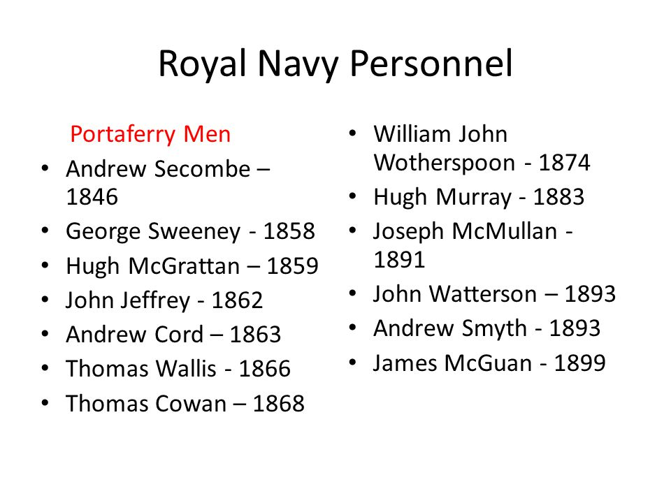 Royal Navy Personnel Portaferry Men Andrew Secombe – 1846