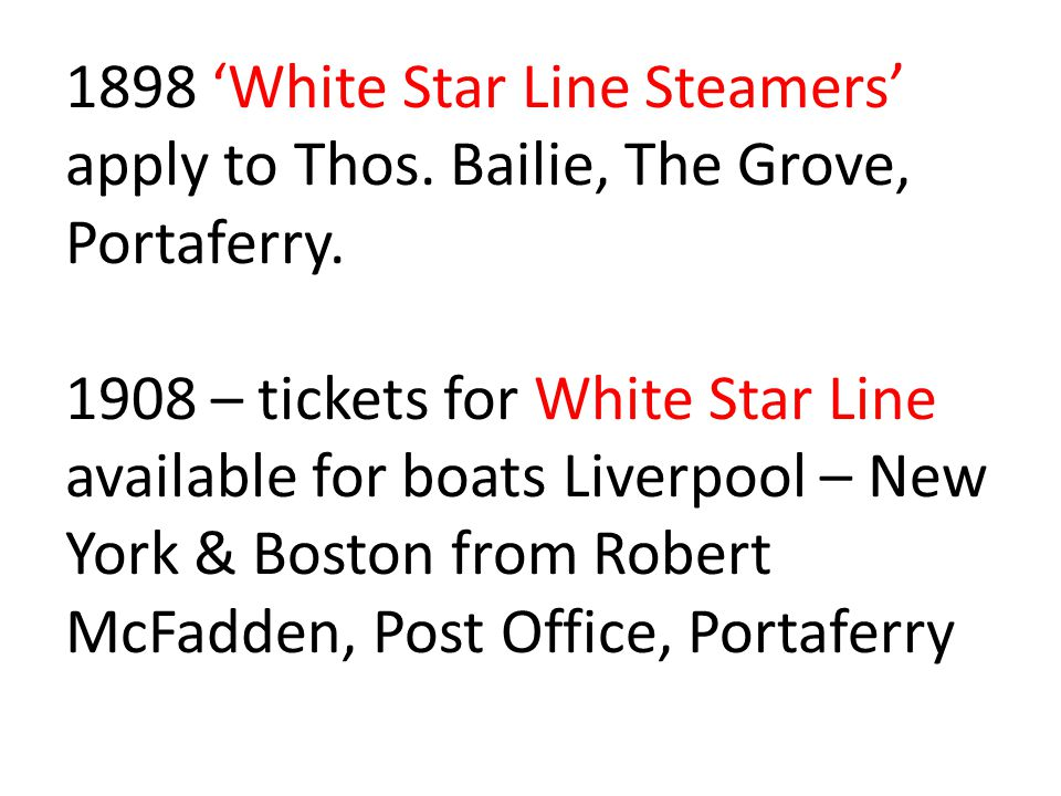 1898 'White Star Line Steamers' apply to Thos