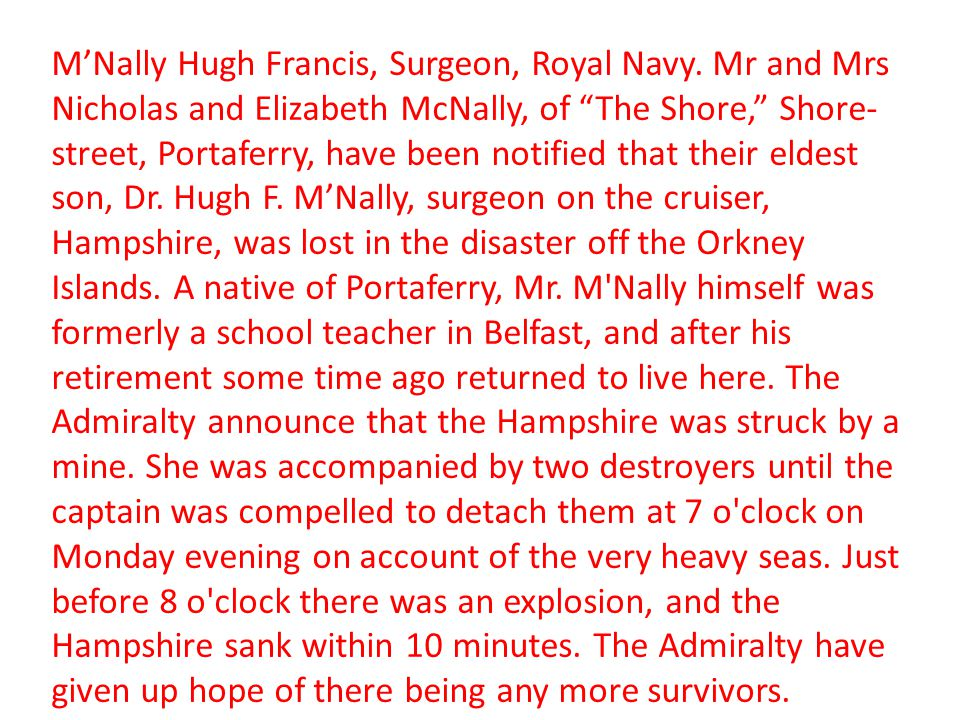 M'Nally Hugh Francis, Surgeon, Royal Navy
