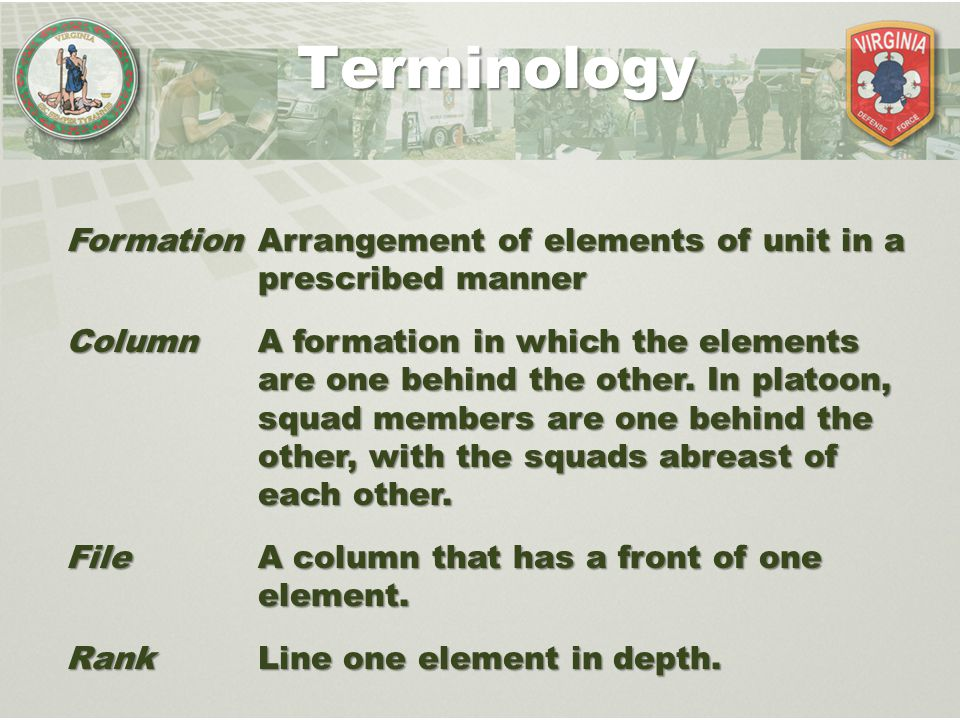 Terminology Formation Arrangement of elements of unit in a prescribed manner.