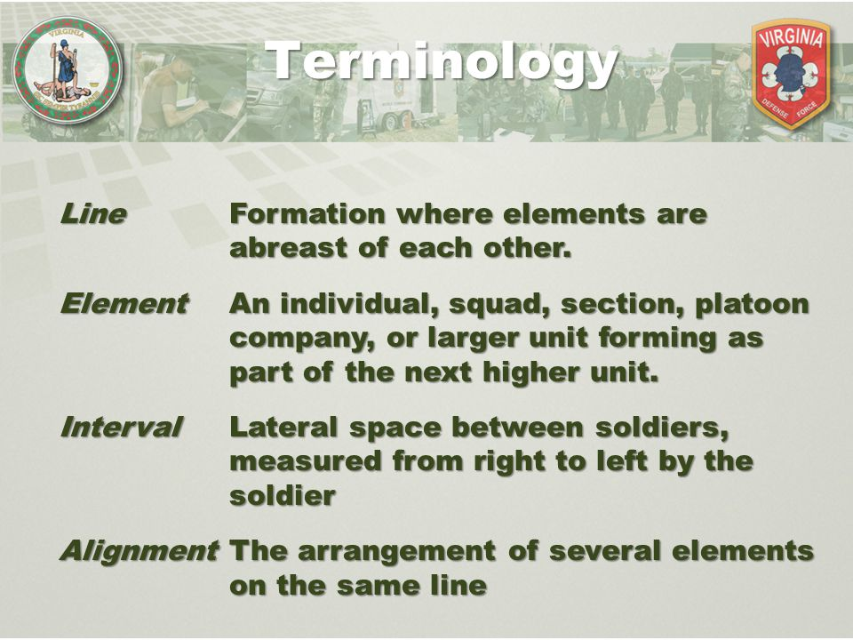 Terminology Line Formation where elements are abreast of each other.