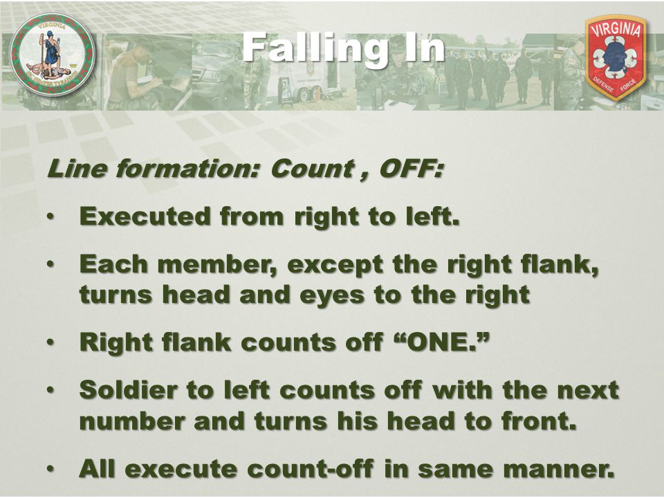 Falling In Line formation: Count , OFF: Executed from right to left.