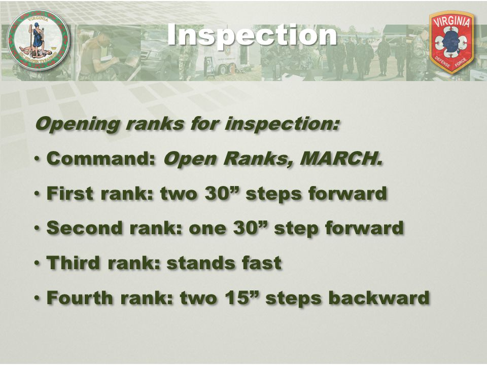 Inspection Opening ranks for inspection: Command: Open Ranks, MARCH.