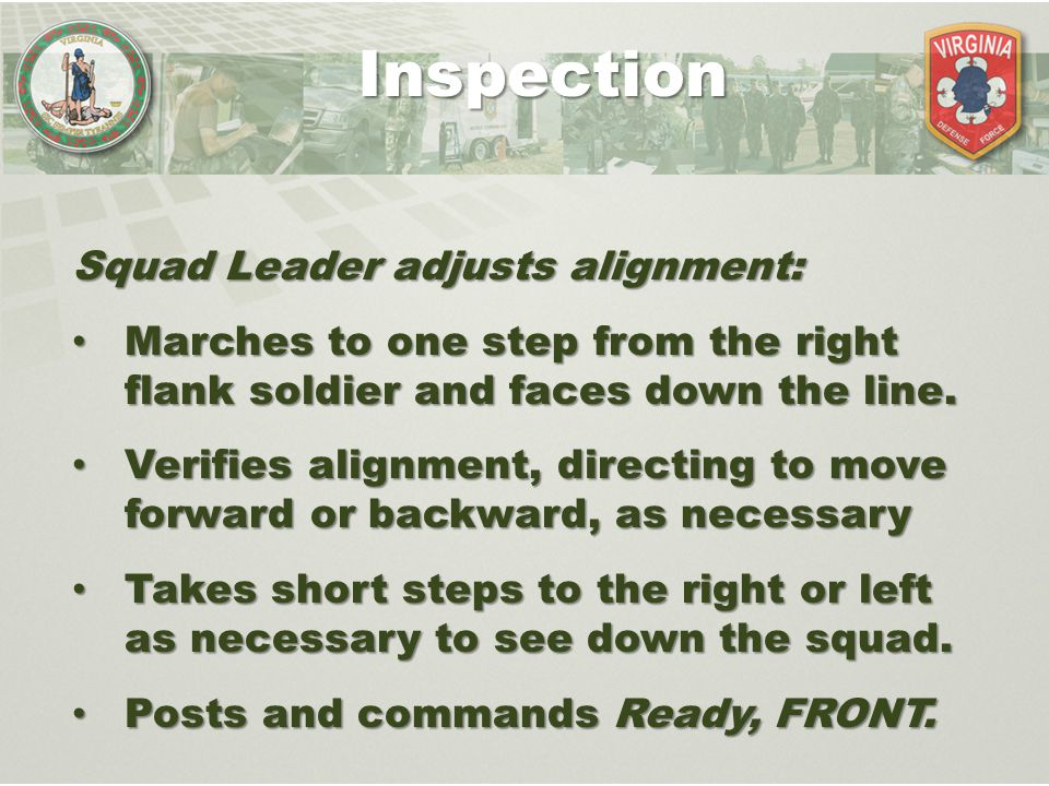 Inspection Squad Leader adjusts alignment: