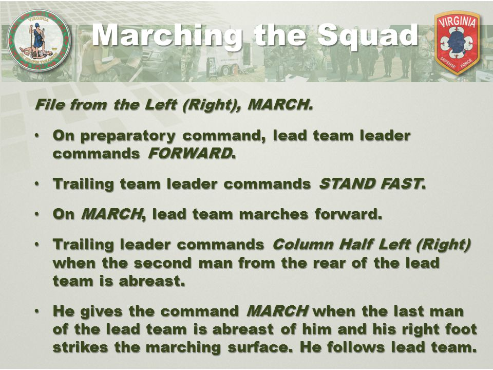 Marching the Squad File from the Left (Right), MARCH.
