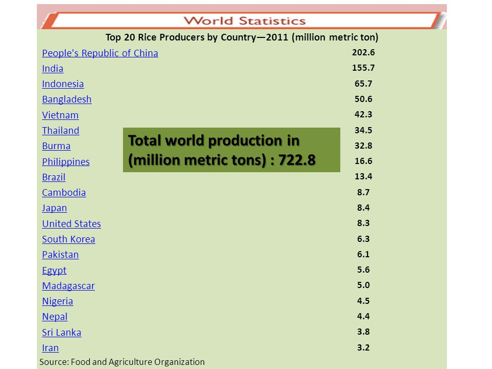 Top 20 Rice Producers by Country—2011 (million metric ton)