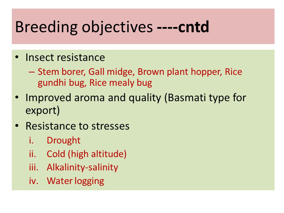 Breeding objectives ----cntd