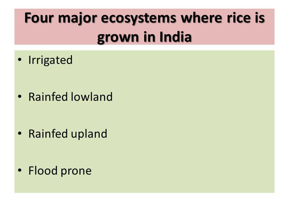 Four major ecosystems where rice is grown in India