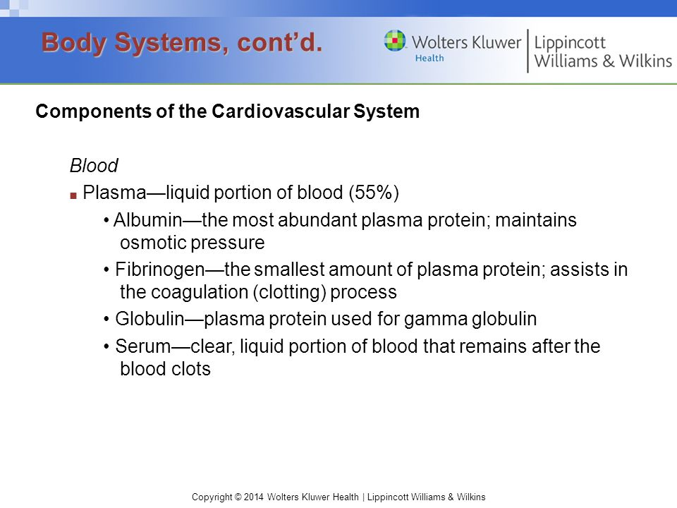 Body Systems, cont'd. Components of the Cardiovascular System Blood