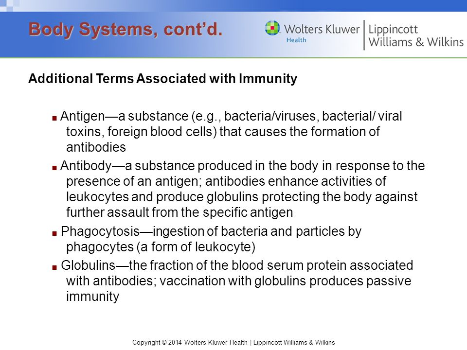 Body Systems, cont'd. Additional Terms Associated with Immunity