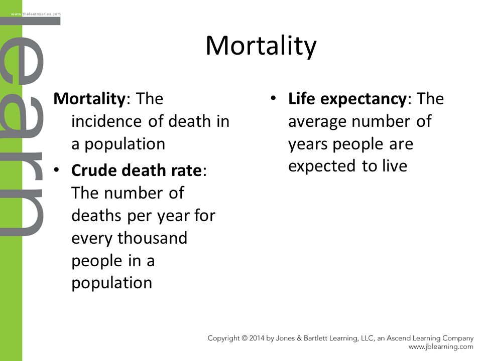 Mortality Mortality: The incidence of death in a population