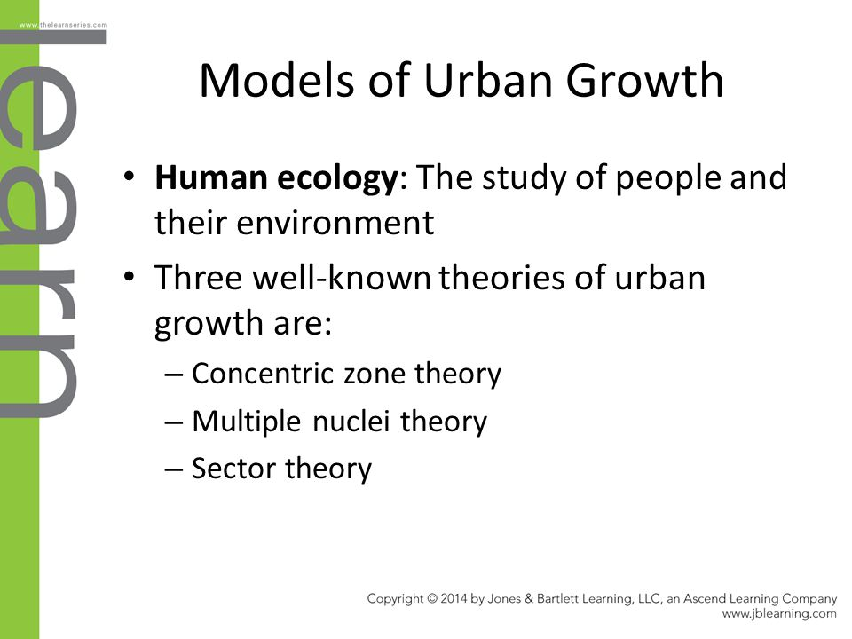 Models of Urban Growth Human ecology: The study of people and their environment. Three well-known theories of urban growth are: