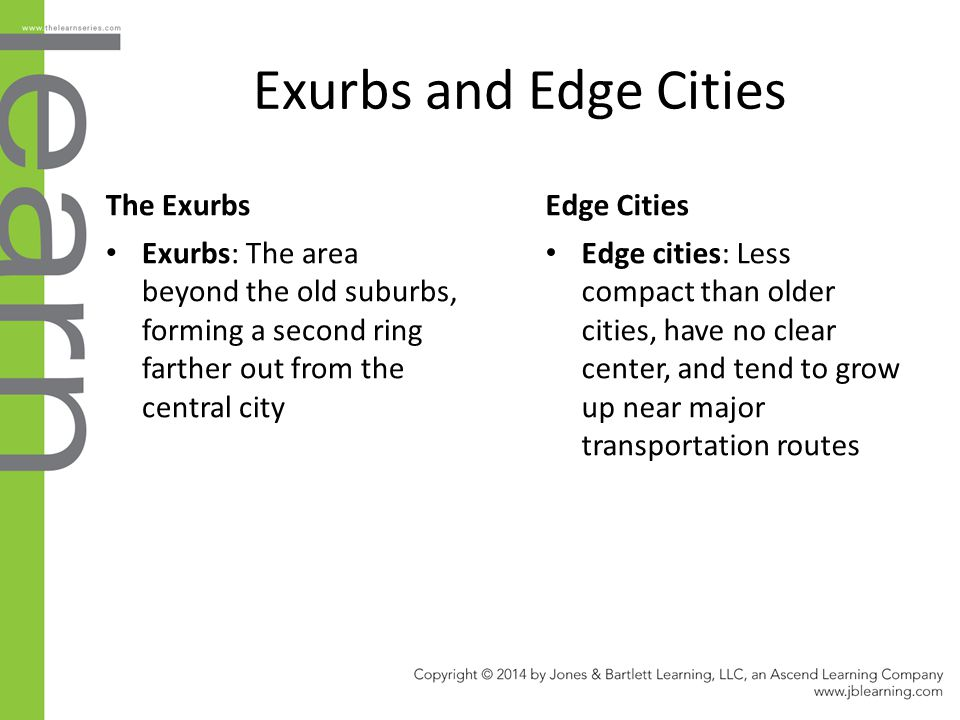 Exurbs and Edge Cities The Exurbs Edge Cities