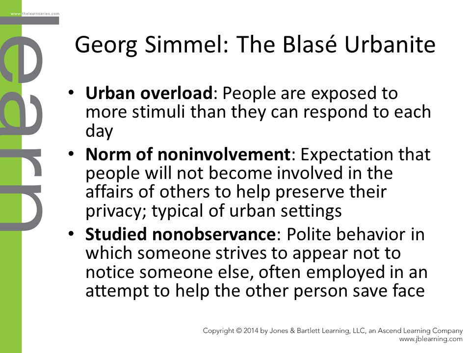 Georg Simmel: The Blasé Urbanite