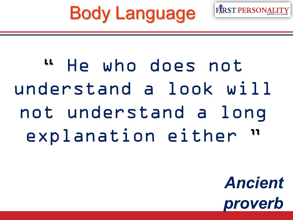 Body Language He who does not understand a look will not understand a long explanation either Ancient proverb.