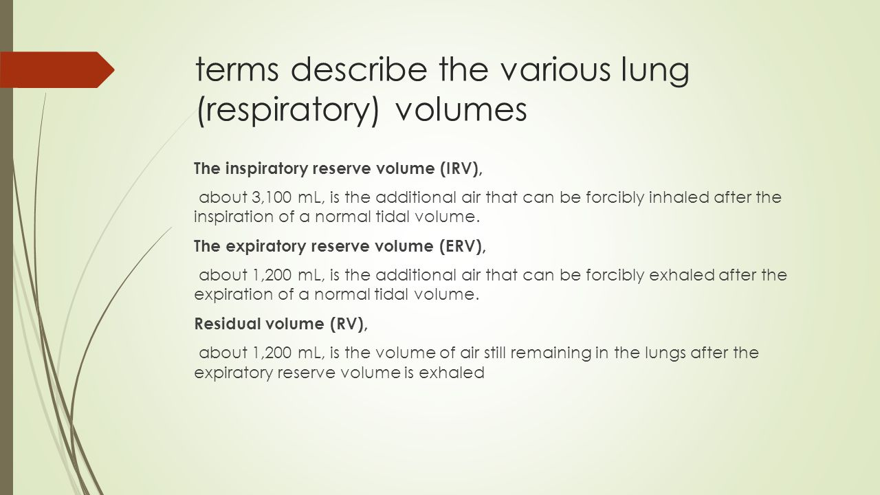 terms describe the various lung (respiratory) volumes
