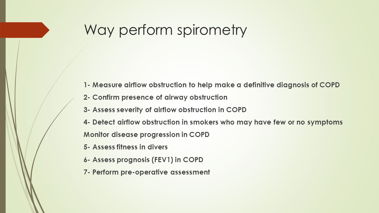 Way perform spirometry