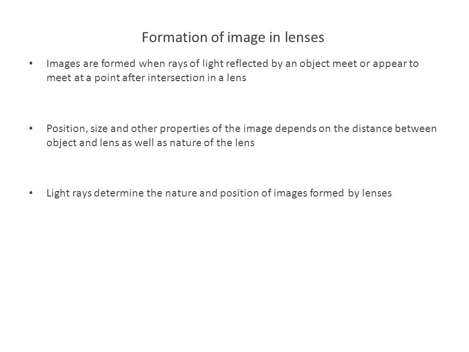 Formation of image in lenses