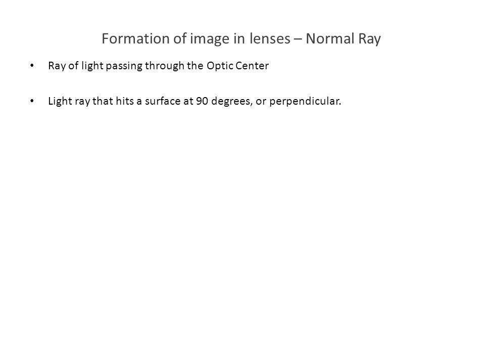 Formation of image in lenses – Normal Ray