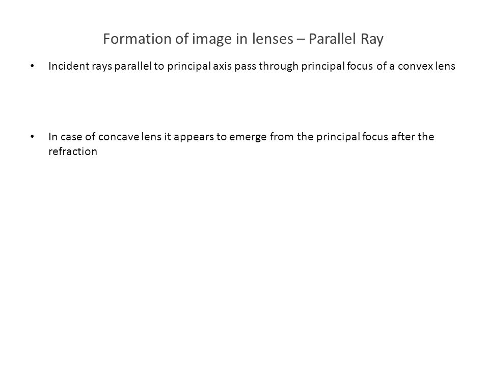 Formation of image in lenses – Parallel Ray