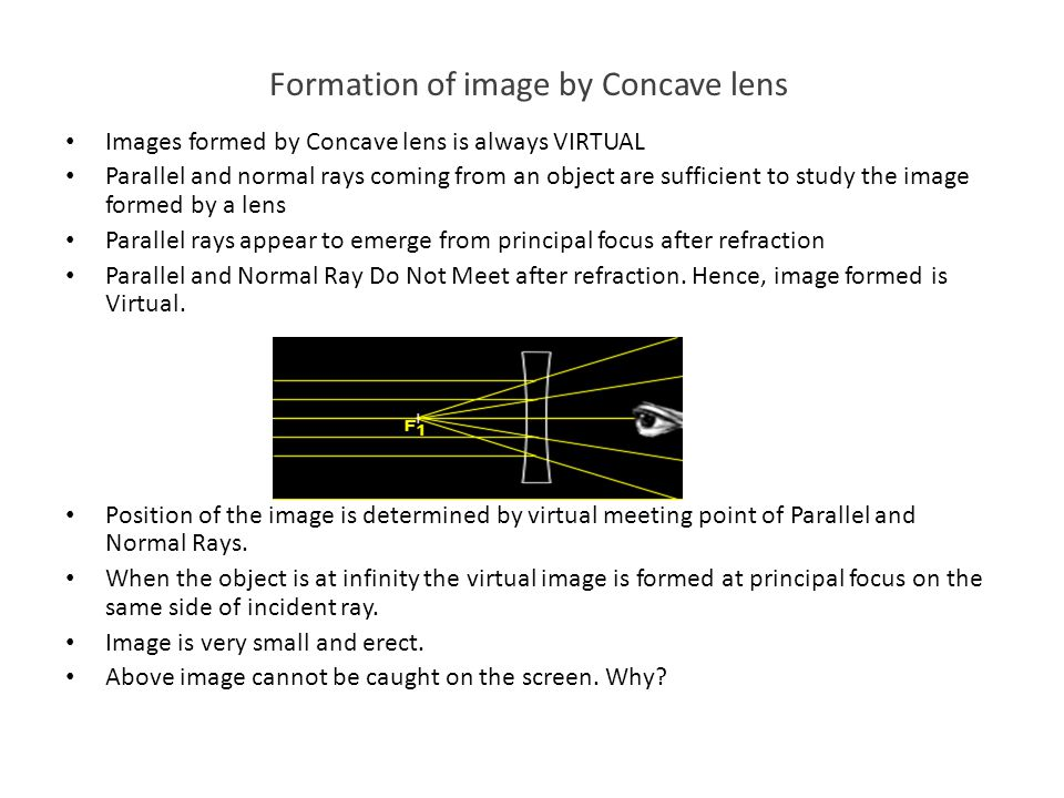 Formation of image by Concave lens