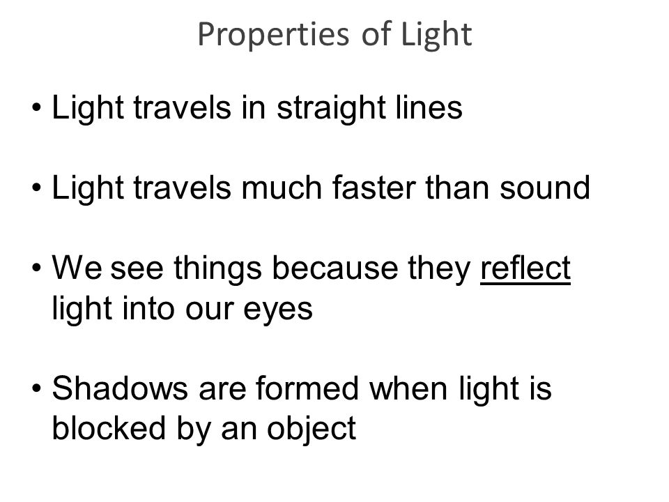 Properties of Light Light travels in straight lines