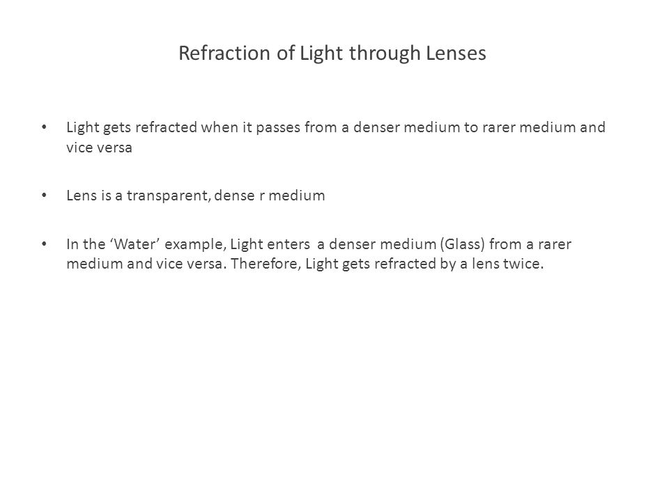 Refraction of Light through Lenses