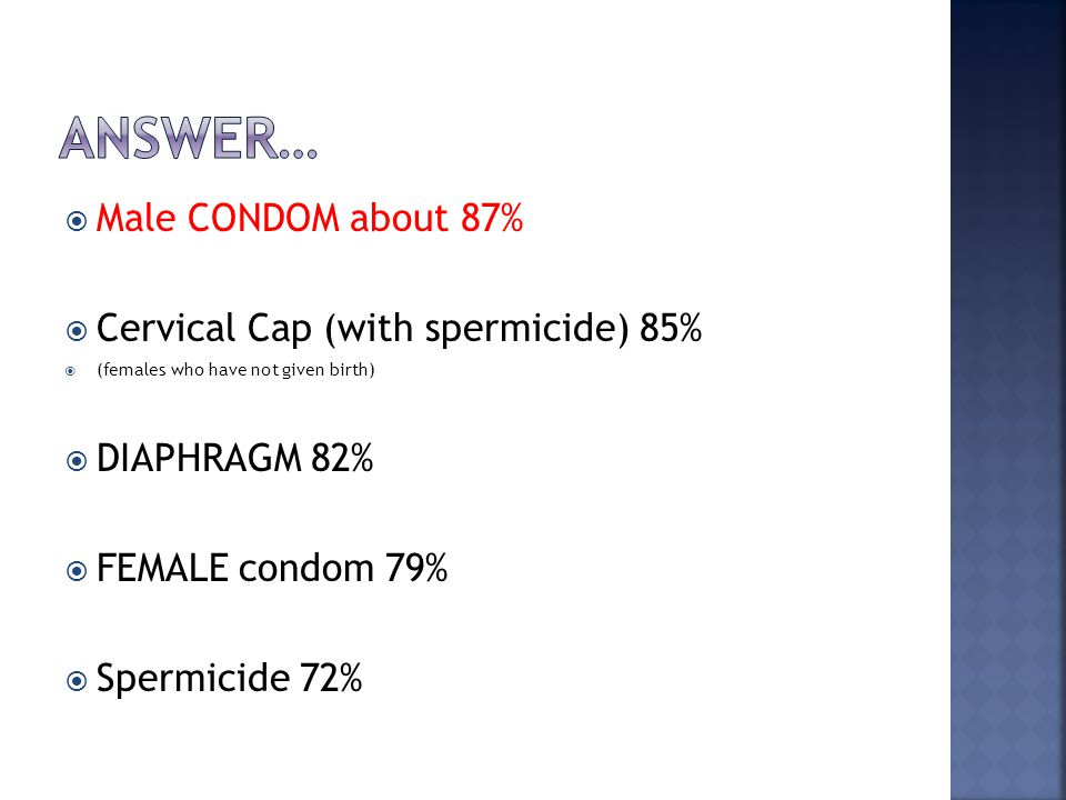 Answer… Male CONDOM about 87% Cervical Cap (with spermicide) 85%