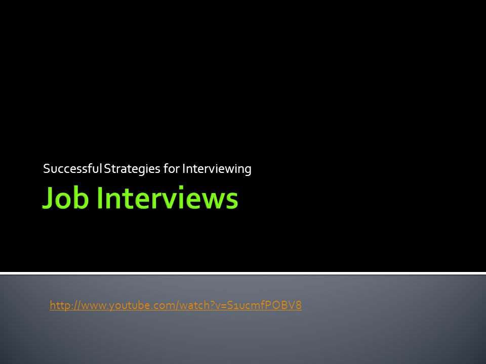 Successful Strategies for Interviewing