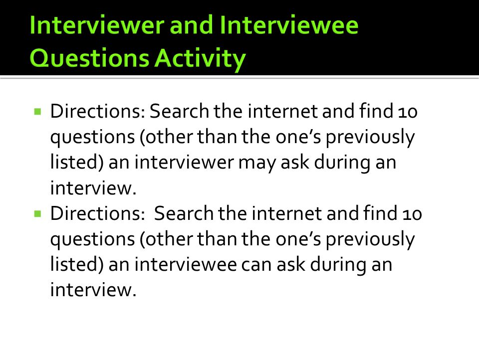 Interviewer and Interviewee Questions Activity